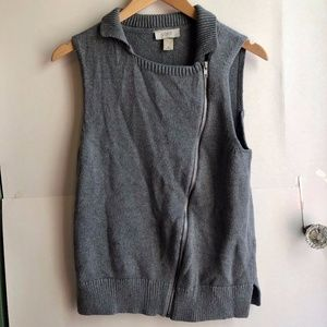 LOFT Gray Asymmetrical Zip Sleeveless Sweater Vest